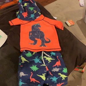 Carter's Dinosaur Rashguard, Swim Trunks and Hat